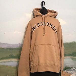 Men's vintage Abercrombie and Fitch tan hoodie